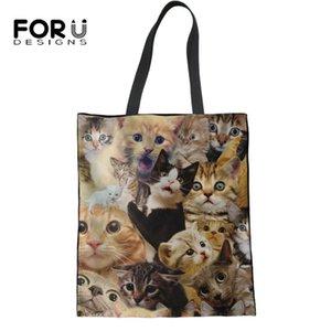 FORUDESIGNS Nette Katzen-Muster-Frauen Reise-beiläufige Handtasche Fashion Damen Schultertasche Female Große wiederverwendbare Leinwand-Tasche
