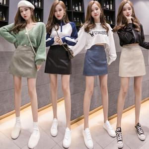 iUMZK wseJ8 cuir pour femmes 2019 style coréen haute One-Step mode taille robe demi-longueur chic et élégante une étape jupe robe de ligne skirt- PU