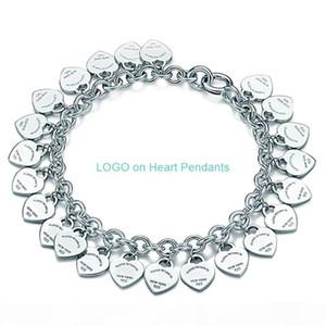 Charm Bracelet Jewelry Women Love Classic Tag Full Heart Chain Pendants Bracelets for Woman Gift 925 Silver T fine Jewelry