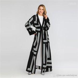 Pannelled Женские Длинные куртки с Пояса Женщины Digital Printed Open Стич Весна Осень дизайнер Сыпучие дамы пальто моды
