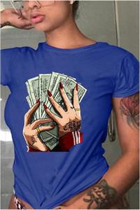 Designer-T-Shirts Sommer-Mode-Dollar Druck und Rundhals Kurzarm T-Shirts beiläufige Damen Tops Plus Size Frauen Kleidung Verschiedene Stile der Frauen