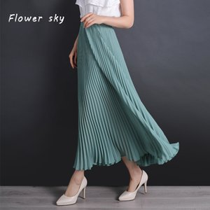 2020 Summer Women skirt New Fashion Solid Long Pleated Skirts Long Vintage Women Elegant Pleated Skirt