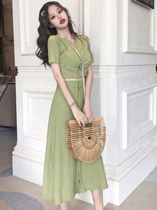 Ins Very Fairy Net Red Ocean Matcha Green Fairy Womens Suit Skirt Chic Gentle Long Immortal Mori Two-Piece Summer Sale