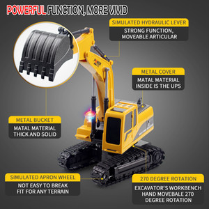 Child toy Six remote controlled excavator models alloy excavator multi function wireless remote control engineering vehicle