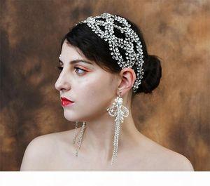 Luxury Crystal Bridal Hair Vine Headband Rhinestone Jewelry Wedding Women Crown Tiara Hair Accessories Chain Ornament Headdress Prom Jewelry