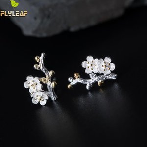 Flyleaf 100% 925 Sterling Silver Gold Color Branch Plum Flower Stud Earrings For Women Chinese Style Lady Vintage Jewelry