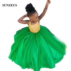 Ball Gown Emerald Green Flower Girl Dress With Gold Beaded Bodice African Girls Wedding Party Dresses Kids Prom Gown FLG116