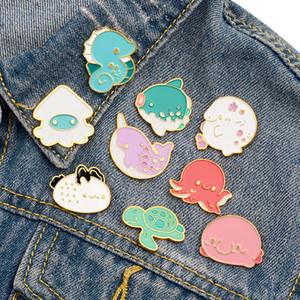 Tortuga linda del pulpo pequeños divertidos esmalte pernos de las broches para muchacha de las mujeres de los hombres de Navidad Demin regalo camisa de la decoración de la broche de la placa de metal pin de Kawaii