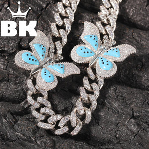 THE BLING KING 12mm CZ Humili Butterfly Necklace Iced Out Zircon custom Color Luxury Bling Jewelry Fashion Hiphop For Men