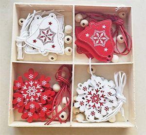Amor do dia de Natal Árvore de Natal de Ano Novo Ornamentos cervos do floco de neve do boneco de neve Casa Sinos Caixa de madeira Decoração dos Namorados Ornamentos