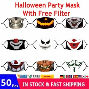 Маски 50шт Взрослые Дети Horror Дух Аниме партия Halloween Face 3D Ситца моющийся многоразовый Mouth крышка с РМ2,5 Фильтр FY9182