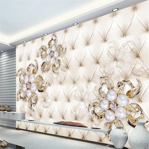 New product diamond pearl flower wallpapers soft pack background wall modern wallpaper for living room