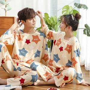 2020 Sonbahar Pijama Çiftler İçin Pijama Takımı Aşıklar Uzun Kollu Pijama İçin kadın ve erkek moda Pijamas Suit yazdır