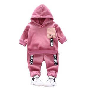 Spring Autumn Kids Letter Thicken Casual Clothes Baby Boy Girl Cotton Hoodies Pants 2Pcs Sets Children Cartoon Fashion Tracksuit