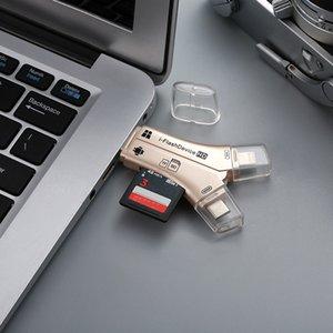 4 IN 1 i 플래시 드라이브 USB 마이크로 SDTF 카드 판독기 어댑터 iPhone Pro 11 X Max 5 6 7 8 iPad MacBook Android 카메라 용