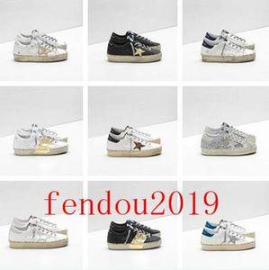 GGDBItalia Marchi d'oro Old Style Fashion Designer Sneakers lusso del cuoio genuino delle donne degli uomini dei pattini casuali Oche Trainer Hi Star CIF