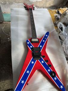 Chitarra Cuatom forma di chitarra Wash Dime 333 Dimebag Darrell Firma ribelle confederata Red Flag elettrico Tremolo Bridge, Hardware Nero