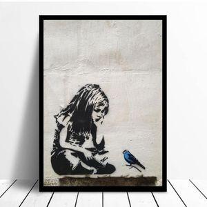 BANKSY Graffiti Street Art Ragazza Con Blue Bird di poster e stampe su tela Nordic stampare foto Wall Wall decorazione domestica