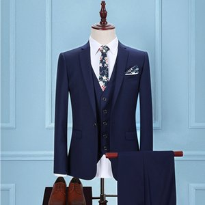 New High Quality Mens Suits Wedding Groom Good Quality Business Casual Male Suits 3 Peiece (jacket+pant+vest)