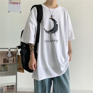 Homens Hot Sale Harajuku Lua T-Shirt Print colloge estilo solto manga curta assentamento roupas de frio Masculino Adolescentes Verão Streetwear