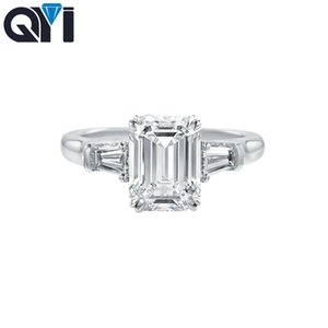 QYI 3 ct Emeral Cut 925 Sterling Silver Rings Fashion Women Engagement Jewelry Zircon Female Wedding Finger Flower Rings Gift