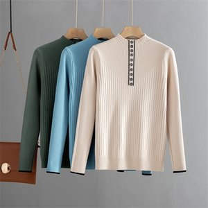 BYGOUBY Botton Fashion Women Autumn Winter Warm Sweater Thick Knitted Pullover Jumper Top Female Slime Rib Sweater 0925