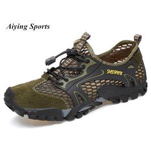Été respirante Chaussures de randonnée en daim + Mesh Outdoor Men Sneakers Chaussures de vélo d'escalade Sport séchage rapide Chaussures eau