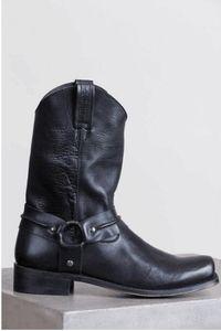 Herren-Lederschuhe Anti-Rutsch-Slip-On Round Toe Schnalle flache Schuhe Lace-Up Cowboy Warm Anti-Rutsch-Stiefel zapatos de hombre