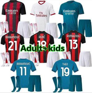 الأولاد الكبار AC ميلان 2020 2021 IBRAHIMOVIC بالقميص لكرة القدم تعيين 20 21 بياتك باكيتا THEO REBIC قمصان كرة القدم الرجال الاطفال مجموعات الزي الرسمي
