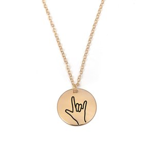 New Creative Design Sign Language Necklace I Love You Round Pendant Friends Sisters Couple Necklace New Year Gifts