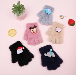 Children's gloves autumn and winter warm with velvet thick bag finger flip half finger knitting baby cute cartoon