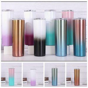Gradiente 20 once Magro Bicchieri in acciaio inox Bicchieri Viaggiare Tazze Vacuum Insulated Birra tazze di caffè con il coperchio TRASPORTO MARITTIMO CCA12502