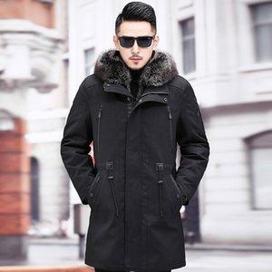 Mink skin inner class overcomes coat men's fur one piece leather fur American raccoon medium long coat thick