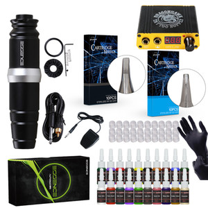 Complete Tattoo Kit Rotary Motor Machine Tattoo Pen Set Mini LCD Power Supply Tattoo Set D3035
