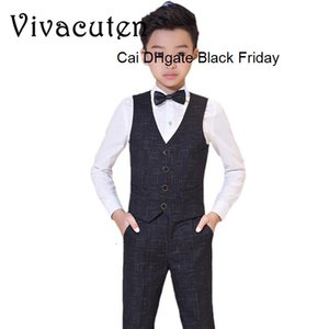 Brand Flowers Boys Wedding Birthday Dress Gentleman Formal Suit Kids Waistcoat Shirt Pant Bowtie 4Pcs Children Costumes F186