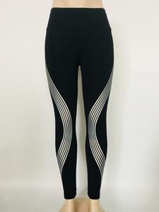 Laser Reflective Damen Leggings Solid Color mittlere Taillen-Yoga-Hosen Sport-Art-Frauen Kleidung Frühling Sommer