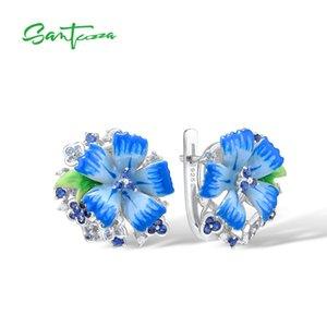Ohrringe Großhandel Silber für Frauen Reine 925 Sterlingsilber-blaue Blumen-Trendy Geschenk-Partei Fine Jewelry Handgefertigte Emaille