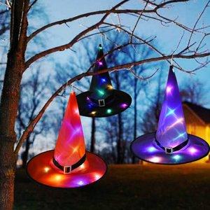 1pc Halloween LED-Leuchten Hexe Hüte Halloween Dekoration Cap Kostüm Requisiten Außen Baum hängende Verzierung Start Glow Party Decor DHL-freies