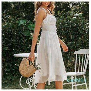 حار بيع اللباس شاطئ المرأة بلا أكمام الشيفون شاطئ الصيف ملابس Backlesss Ruched وعطلة رسمية إمرأة Dayly ارتداء الأبيض الأنيق ردائه