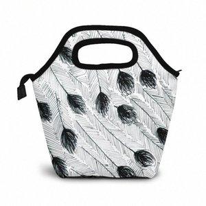 Эму перо обед мешок обед / Ледовые сумки Портативный Изолированный Пикник Box Для женщин Для мужчин 1c58 #