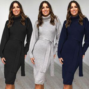 Winter Pullover Kleid Frauen Pullover mit Stehkragen Kleid Langarm-Sweatshirt-Kleid-reizvolle beiläufige Bleistift-Kleid mit Gürtel vestido 11.28