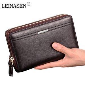 Wholesale LEINASEN Men Wallet with Coin Pocket Long Business Male Wallet Double Zipper Large Capacity Men 20PCS lot