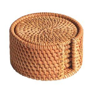 6Pcs / Kungfu Çay Aksesuar Yuvarlak bulaşığı Placemat Bulaşık Mat Rattan Dokuma Kupası Mat Pad Çapı 8 cm için Altlıkları Set İçki