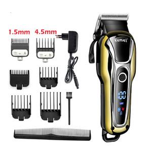 100-240V kemei 충전 머리카락 트리머 전문 헤어 클리퍼 머리 면도 기계 머리 절단 수염 전기 면도기