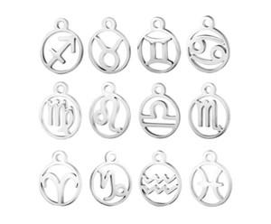 10pcs / lot Edelstahl-Laser-Sternzeichen Anhänger Stahl Horoskop DIY Metall für Armband Halskette Schmuck Tag machen