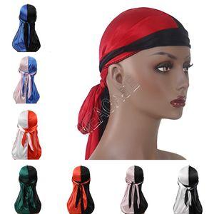 Patchwork Renk Tasarımcılar durags Turban Parlak İpeksi Durag Bandana Uzun Kuyruk Şapkalar Korsan Kafa Bantları Saç Kapak Aksesuarları D82412 Caps