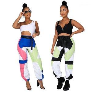 Tasarımcı Kargo Pantolon Spor Nefes Kontrast Renk Kasetli Orta Bel Pantolon Spor Stil Bayan Giyim Yaz Womens