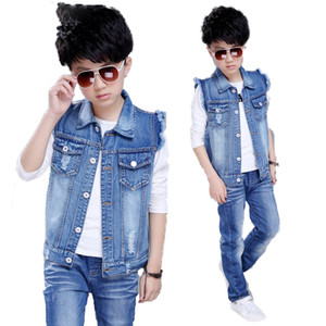 Baby Boys Denim Vest Coat Cutyome Spring Autumn Toddler Kids Solid Jeans Wasitcoats Teenage Boys Outerwear Children's Clothing