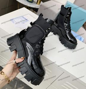 Kadın Kış Martin Bilek Boots Fırçalı Rois Deri Naylon Combat Boot Çıkarılabilir Keycase Kalın Alt Yuvarlak Ayak parmakları Bayanlar Motosiklet Boots