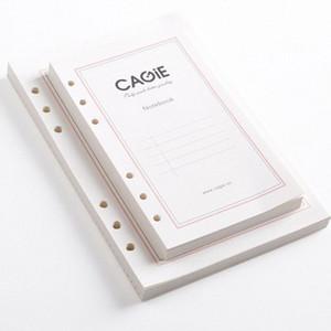 Wholesale- Standard-A5 A6 6 Holes Loseblatt Notebook Refill Papier Ersatz Innen Innere Seiten Spiral Filler Paper für Notebook Di ea4j #